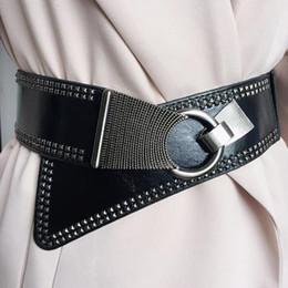 cintos de corset de moda larga Desconto desfile de moda de metal do punk rebite pu Cummerbunds couro das mulheres do sexo feminino de vestido Espartilhos Cós Cintos decoração ampla R919 cinto
