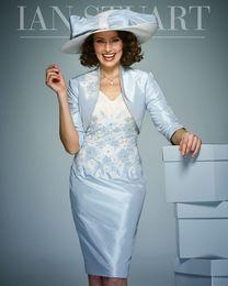 Wholesale Светло голубое платье для матери невесты с бисером и V образным вырезом с V образным вырезом и аппликацией свадебное платье для гостей длиной до колен тафта Формальные платья