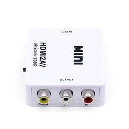 conversor ntsc pal Rebajas HDMI TO AV Scaler Adapter HD Video Converter Box HDMI a RCA AV / CVSB L / R Soporte de video 1080P HDMI2AV NTSC PAL Venta al por mayor