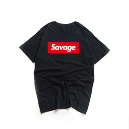 Swag tops pour hommes en Ligne-HIP HOP MEN TSHIRT RED OPPS SWAG RAPPER SAVAGE SAVAGE Lettre d'impression T-shirts ronds Collier Trasher Tee Tee Tee
