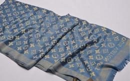 Bufanda azul marino online-Venta de fábrica bufanda para mujer de invierno diseñador de lujo bufanda sección larga caliente de bufanda más gruesa azul marino tamaño 180x70 cm regalo de Navidad