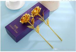 2019 fiori d'anniversario d'oro di nozze New Lover's Flowers 24K Golden Rose Decorazione di nozze Golden Flower Romantic San Valentino Decorazioni Anniversary Gift Gold Ro fiori d'anniversario d'oro di nozze economici
