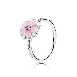 Set rosa online-Anelli di CZ smalto rosa chiaro Cerise Set scatola originale per Pandora 925 Sterling Silver Magnolia Bloom Ring gioielli da sposa da donna
