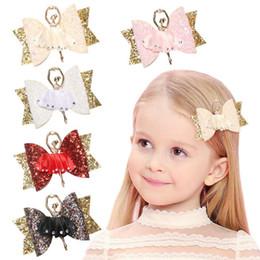 Горный хрусталь онлайн-Детская Ballet Girl дизайнерские заколки для волос аксессуары оптом Двухслойная блестящая кожаная клипса для ребенка Бутик Заколки со стразами Заколки