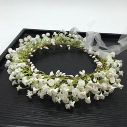 Corona di capelli bianchi online-Traspirante bianco Fiore Corona Corona Festival fascia sposa Donne Accessori per capelli fiore del copricapo Ghirlande sposa Copricapo