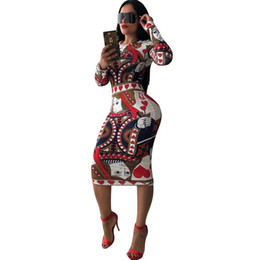 Abiti multicolor del bodycon online-Multicolor Print Novelty Bandage Bodycon Dress Donna O Collo Manica lunga al ginocchio Abito casual Elegante Slim Midi Abiti da festa Y190425