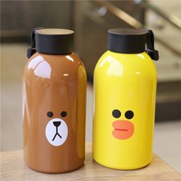 детские бутылочки для воды Скидка Творческий мультфильм животных Emoji стакан из нержавеющей стали изоляции Кубок высокой емкости дети открытый спорт бутылки воды 21md Ww