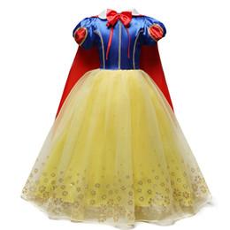Vestiti di neve bianca per le ragazze online-4-10 anni Fancy Cosplay Principessa Biancaneve Costume ragazze vestito per le vacanze di Halloween abito di Natale Role-play Kid Girl vestiti J190505