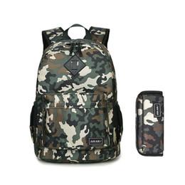 Canada 2pcs ensemble enfants armée vert camouflage sac à dos pour garçon étudiant stylo sac étui à crayons garçons cartables bookbag sacs à dos pour enfants Y18120601 cheap army backpacks for kids Offre