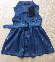 2019 crianças verão queda verão vestuário Crianças meninas Vestidos de verão Imprimir vestido de polo designer Bebê menina vestido sem mangas roupas de grife crianças meninas Saia