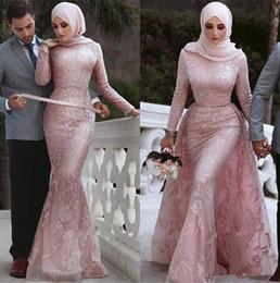 2019 mono de manga larga marfil 2020 Nueva delicado cordón de la sirena vestidos de noche árabe Dubai musulmanes mangas largas Apliques Lentejuelas vestidos formales con 844 desmontable de tren