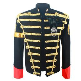 michael jackson azul Desconto Jacket raro clássico do MJ Michael Jackson Preto Azul na Inglaterra Retro Magro Handmade Outwear