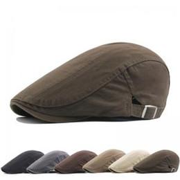 ab7b6c11c95ee Moda hombre de algodón sombrero de la boina ocasional caliente plana Snap  sombreros Denim Jeans color sólido Boy Hunting Cabbie Cap de conducción  TTA322 ...