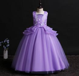 15 años vestidos de azul blanco online-5 6 8 a 15 años Niños Primavera Verano Ropa Ball White Blue Lavender Vestidos de niños para niñas Fiesta de desgaste