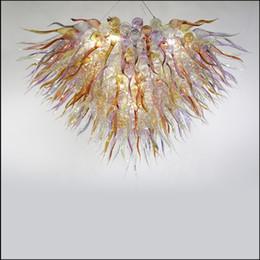 Fabricantes de arañas online-Zhongshan Fabricante soplado mano de cristal de Murano lámpara de luz de color personalizada vidrio soplado lámparas pendientes