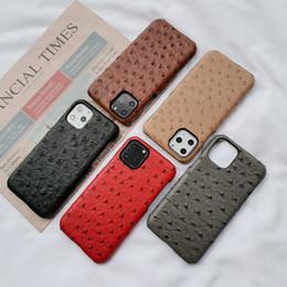 samsung galaxy e5 telefon fällen Rabatt Günstige Designer-Telefon-Kasten für iPhone 11 pro max XR 8plus Mode Straußenmuster PU-Leder-harte rückseitige Abdeckung Drop
