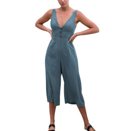 c069b1b64d2 2018 Women Wide Leg Jumpsuit Sexy V Neck Spaghetti Strap Sleeveless  Backless Overalls Rompers