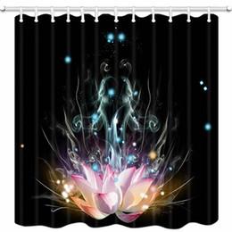 Cortinas blancas flores rosas online-Cortina de Ducha Pink Lotus, Magic White Lotus Fantasy Flower Zen Meditación Yoga Premium Impermeable Baño Decoración de Tela de Poliéster Mejora