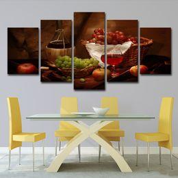 (Solo su tela senza cornice) 5Pcs Panels Vino rosso e frutta d'uva Classica Restaurant Wall Art HD Stampa Su Tela Dipinto Moda Immagini Appese da