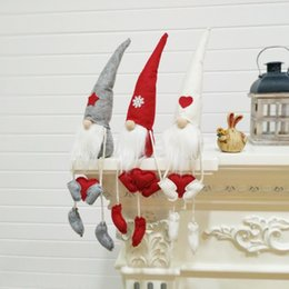 Poupées tricotées en Ligne-De table Santa Figurines Ornements Tricotés Assis Tomte De Noël Gnome Décorations De Poupée De Vacances Présentent Des Décorations De Noël