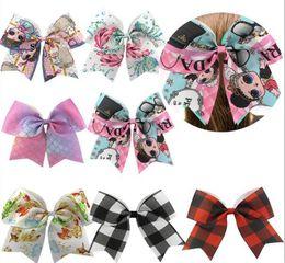 Hot 7.5 '' Gran Elástico Cheer Bow para Niñas Colorido de Dibujos Animados Hairbows Ponytail Kids Accesorios Para el Cabello 15 unids desde fabricantes