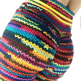 leggings running colorido Desconto Colorido 3D Impressão Yoga Calças De Fitness Esporte Leggings Stripe Impressão Elastic Ginásio Calças Justas S-XL Execução Calças Plus Size