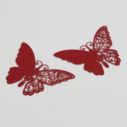 gli autoadesivi della parete della farfalla di vetro Sconti 50PCS Farfalla rossa Tavolo Decorazione in vetro per la festa nuziale Farfalla Decor Wall DIY Sticker Ornamento per la casa