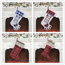 christmas shopping gift bags Promo Codes - Christmas Stocking Gift Bag Christmas Tree Ornament Socks Xmas Stocking Candy Bag Home Party Decorative Items Shop Shopwindow Decorations
