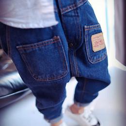 Korean roupas de bebê marcas on-line-Novíssimo Bebés Meninos Jeans Crianças Calças personalizadas coreano bolso roupa dos miúdos Boy Denim Pants regulares Boy Idade 2-6T Ano