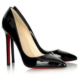 Resbalón de goma para tacones online-Envío gratis, así que Kate Styles 8cm 10cm 12cm Zapatos de tacones altos Fondo rojo desnudo Color cuero genuino Point Toe Pumps Zapatos de boda de goma