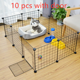 Cani di ferro online-Pieghevole Pet Box Crate Iron Fence Puppy Kennel Casa di esercitazione di addestramento del cucciolo gattino Space Dog gate Forniture per Coniglio