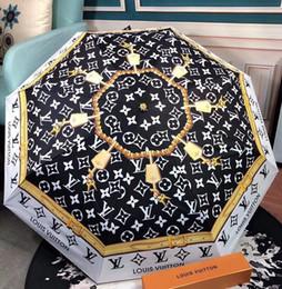 2019 blumen-stil regenschirm Brief druckt Regenschirm Mode-Beutel der gleichen Art-Muster Sonnenschirm Schwarz Golden Flower Design Regenschirm mit dem Kasten rabatt blumen-stil regenschirm