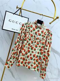 conceptions de chemisier décontracté dames Promotion 19fw nouveau design de marque de luxe Complet imprimé fraise Chemise chemisier Lady Femmes Mode Casual Streetwear Sweat En Plein Air T-shirts