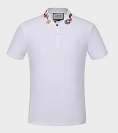 G diseño de letras online-GUC verano 18ss marca de diseño de la serpiente bordado de impresión ropa hombres tela letra polo g camiseta collar casual mujer camiseta tee