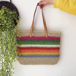 b64dd3afa81a1 JHD-Fashion Lady Sac à main Beach Rainbow Color Lady Sac à main Épaule  Version coréenne du sac tendance Beach Straw Bag