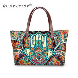 ELVISWORDS Hamsa Fatima Hand Printing Women Handbags Casual Handle-Top Shoulder  Bags Retro Large Messenger Bag For Ladies Wallet 9476953a7efc5