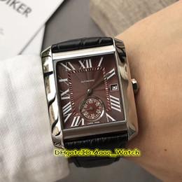 2019 grande relógio de mens marrom Luxry Novo TANQUE MC W5330003 Brown Dial Caso de Prata Grande Roma Marca Mecânico Automático Mens Watch Data pulseira de Couro Relógios de Alta Qualidade desconto grande relógio de mens marrom