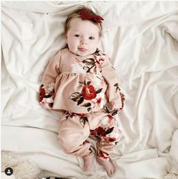 2019 neugeborenes blumenkostüm Neugeborenes Baby Herbst Kleidung Set Langarm-Blumenkleid Hosen Outfits 2ST Blumen-Druck-Mädchen-Kostüm-Säuglings-Kleidung Set günstig neugeborenes blumenkostüm