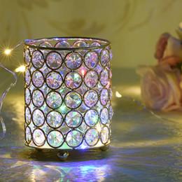 Porta candela cilindro in cristallo online-Cilindri di vetro Tealight portacandele in metallo Coppa di cristallo stand Vasi per centrotavola decorazione di nozze a casa