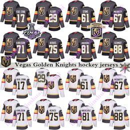 Herren Kinder Damen 2019 Vegas Golden Knights Trikot 29 Marc Andre Fleury 61 Mark Ston 75 Ryan Reaves 71 William Karlsson Hockey Trikot von Fabrikanten