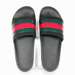 verde peep toe flats Desconto 2019 Chinelos De Borracha Sandália De Lona Stripe Moda marca Designer de chinelo Homens Clássico Das Senhoras Verão Chinelos