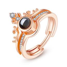 Immagini per amore online-NUOVO Customed immagine Rose GoldSilver 100 lingue ti amo anello di proiezione amore romantico di memoria di nozze anello di Dropshipping