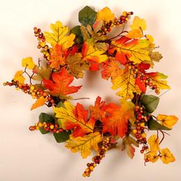 40 cm Ronda Maple Leaf Guirnalda Guirnalda Ornamento de la pared Día de Acción de Gracias Fiesta de Chritmas Bayas Festival Decoración Hogar desde fabricantes