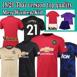 Uniforme de fútbol femenino online-Tailandia Manchester fútbol Jersey 2019 2020 James Pogba LINGARD Lukaku Rashford camiseta de fútbol unido UTD 19 20 uniformes hombre + mujer + niños