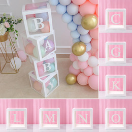 alles gute zum geburtstag gedruckte ballons Rabatt Alphabet Transparent Packing Box Romantic Wedding Balloon Box Case Baby Happy Birthday Party Decor Babyshower Print Cube Gift