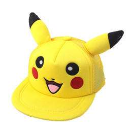 girl smile cartoon Coupons - New design women pikachu baseball cap parent-child Hip-hop cap cartoon Adult cute smile baseball cap wholesale