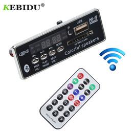 2019 aux remoto Kebidu Car USB Bluetooth Decodificatore MP3 Vivavoce Lettore MP3 integrato Modulo con telecomando USB FM Aux Radio per auto aux remoto economici
