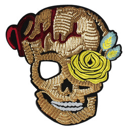 Золотая куртка из черепа онлайн-Золото блестками Роза череп патчи замочная скважина вышитые шить на DIY одежда полосы украшения аппликация для шляпа одежда Куртки пальто