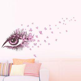 2019 sfondi rosa farfalla 20190621 Pink Eyes Butterfly Love Camera Restaurant Sfondo Decorazione Carta da parati smontabile sfondi rosa farfalla economici