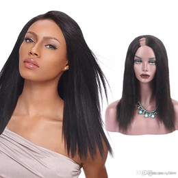 2019 luz yaki u parte peluca U Part Yaki Wig Side Side Virgin Virgin Hair Light Yaki Straight u Part Pelucas de cabello humano para mujeres negras luz yaki u parte peluca baratos